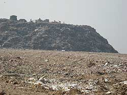Participants in the landfill site tour visited the Okhla Landfill in New Delhi.