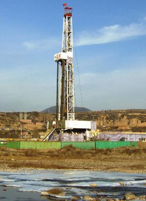 Horizontal drilling rig in the southern Qinshui Basin.